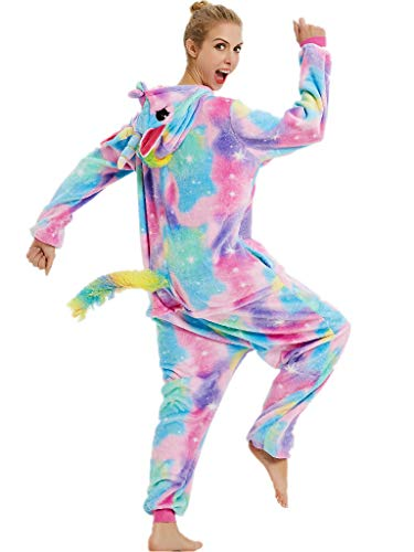 Adult Pajamas Unicorn Costume Onesies for Women Men Teen Girl Animal Onsie Youth,Colorful Unicorn,XL Fit Height 70