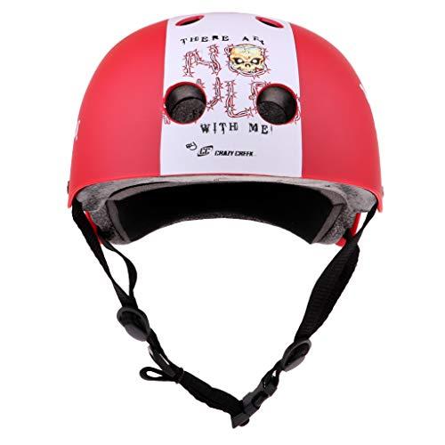 Skateboard Helmet, Skull Design, Head Protector Cap for Multi-Sports, Climbing Cycling Scooter Roller Skate Inline Skating Street Dance - Red M ()