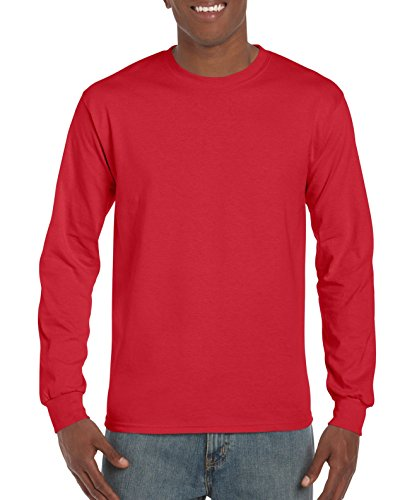 Gildan Men's Ultra Cotton Jersey Long Sleeve Tee, Red, -