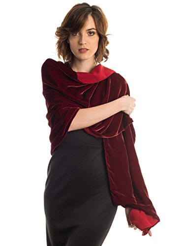 Elizabetta Womens Black Silk Velvet Evening Wrap Shawl - Made in Italy (Sophia Ruby ()