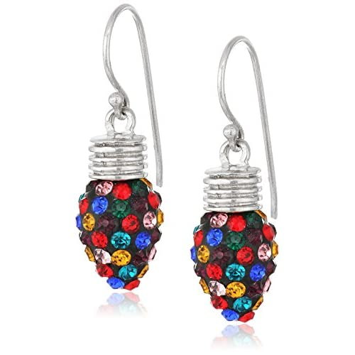 Silver Plated Crystal Multi-Light Bulb Drop Earrings