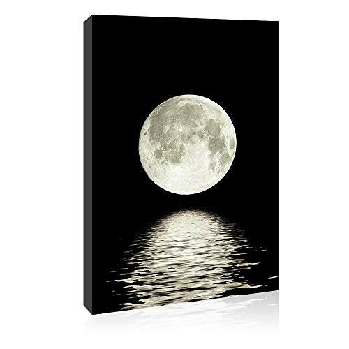 Canvas Wall Art Prints Moon Pictures Printed on Canvas Black and White Wall Art Space Photo Painting Stretched Artwork for Home Office Decorations 16