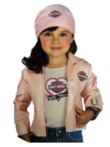Rubies Halloween Harley Davidson Biker Girl Dress Up Kit Medium 5-7 Years Pink