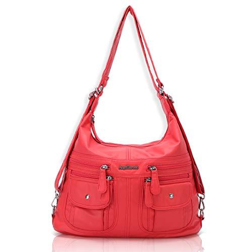 Angel Barcelo Women Multifunctional Soft Leather Handbag Purses Shoulder Hobo Backpack Crossbody Zipper Bag with Pocket Coral ()