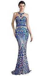 Blue Long Sequin Mermaid Dress Sleeveless