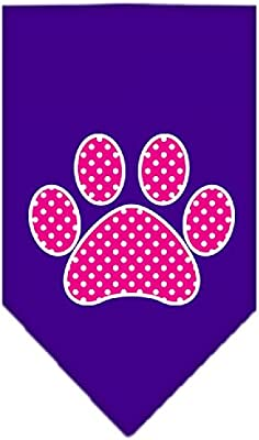Pink Swiss Dot Paw Screen Print Dog Bandanas