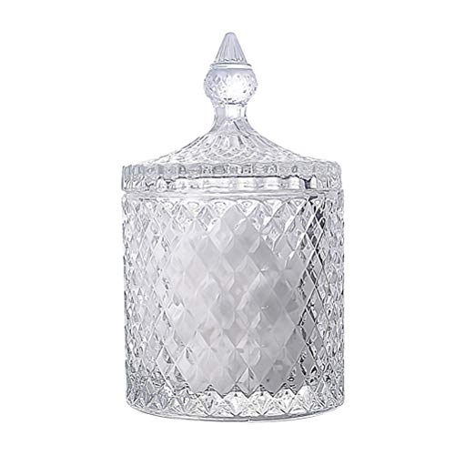 BESTONZON Crystal Candy Box Candy Dishes With Lids Crystal Weave Candy Box Crystal Glass Covered Sugar Bowl Cookie Jar(Small/Clear)