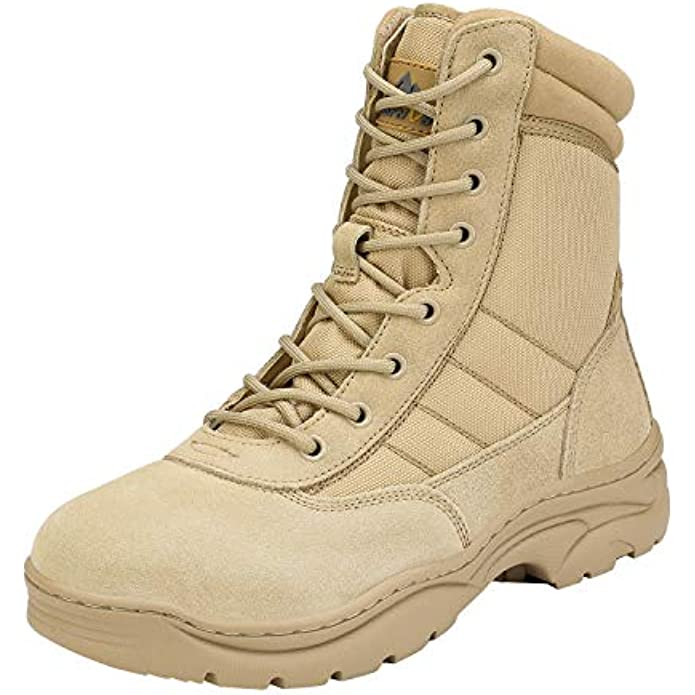 NORTIV 8 Men's Military Tactical Work Boots Side Zipper Leather Motorcycle Combat Boots