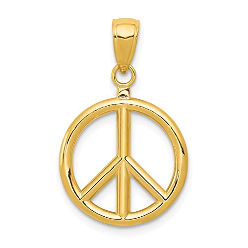 14k Yellow Gold Peace Sign Pendant Charm Necklace Fine Jewelry For Women Gift Set