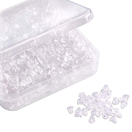 (Silicone Clear Earring Backs Safety Bullet Earring Clutch Hypoallergenic by Yalis, 1000 Pieces)