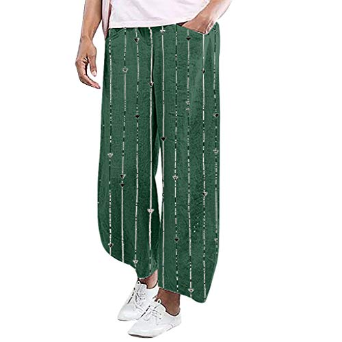 - YKARITIANNA Ladies'Stripe Printing Elastic Waist Pull-On Force Pocket Comfy Casual Broad-Legged Trousers Pants Leggings Green