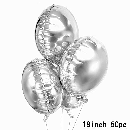 Silver Party Round Foil Mylar Balloons Helium Balloons Bachelorette Wedding Engagement Bridal Shower Baby Shower Birthday Graduation Party Balloons Decorations, 50 PC -