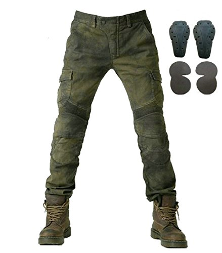 Toach Mens Motorcycle Denim Jeans with Removable CE Armor Powersports Riding Cargo Pants with Protective Pad Army Green XXL ()