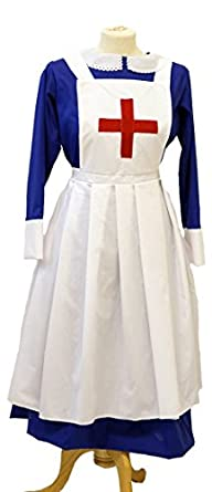 1900 Edwardian Dresses, Tea Party Dresses, White Lace Dresses Wartime-WW2-1940s-LARP-Victorian Blue matron-Nurses Uniform fancy dress $88.00 AT vintagedancer.com