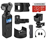 DJI Osmo Pocket Handheld 3 Axis Gimbal Stabilizer with Integrated Camera, Essential Bundle with Osmo Pocket Expansion Kit Part 13, Cradle, 32GB microSD