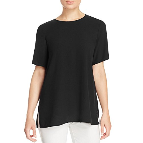 Eileen Fisher Womens Silk Short Sleeves Dress Top Black XS