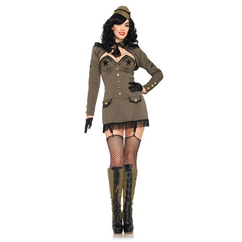 [Leg Avenue Women's 5 Piece Pin Up Army Girl Dress with Back Bow And Shrug, Khaki, Large] (Pin Up Girl Costume Halloween)