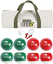 Japer Bees Bocce Ball Set Solid Resin 90mm Outdoor Lawn Games for Family with 8 Balls 1 Pallino Measuring Rope