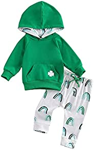 GOOCHEER St. Patrick's Day Baby Boy Girl Outfit Long Sleeves Hoodie Top Pants Baby Boys Girls St Patrick&#