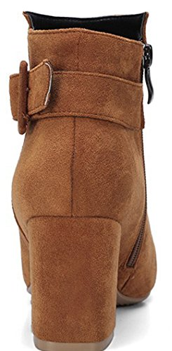 IDIFU Womens Dressy Faux Suede Mid Chunky Heel Pointed Toe Buckle Ankle Booties With Zipper Khaki L9E0mV8R8J