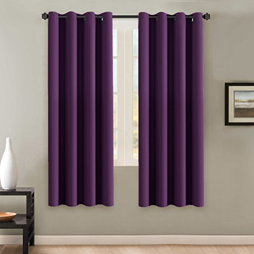 H.Versailtex Ultra Soft Microfiber Thermal Insulated Antique Copper Grommet blackout curtains / Window Treatment Draperies 52 by 72 - Inch for Living Room/Bedroom,Set of 2 - Plum Purple