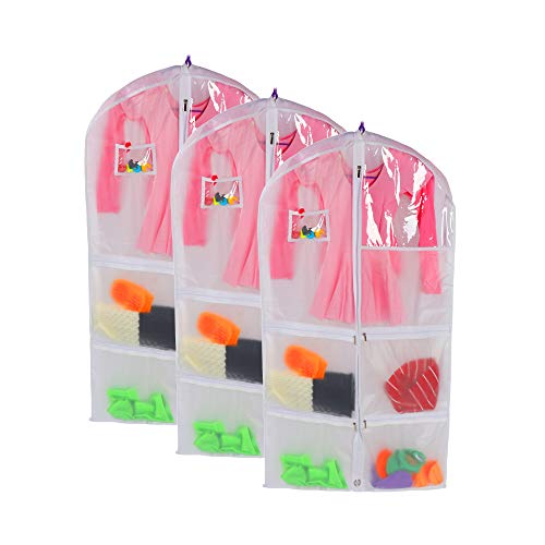 3 PCS Translucent Dance Costume Bags Garment Bags, Garment Bags for Storage, Foldable 39 Inch Full Zipper Suits Bags, Travel Hanging Storage with 4 Large Zipper Pockets (23.6×39 inch)]()