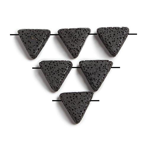 15mm Pendant Trillion (15x15x15mm Black Lava Rock Trillion Focal Pendant Waxed Set of 6 beads)