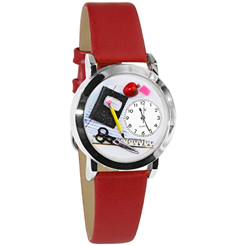 (Whimsical Watches Women's S0640002 Teacher Red Leather Watch)