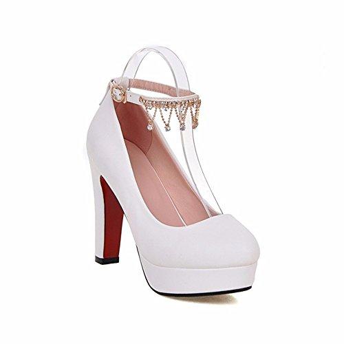 mujer zapatos mujer punta zapatos áspero Tabla talón impermeable de de zapatos Coreano alto white tacón de del redonda 5tqqaw