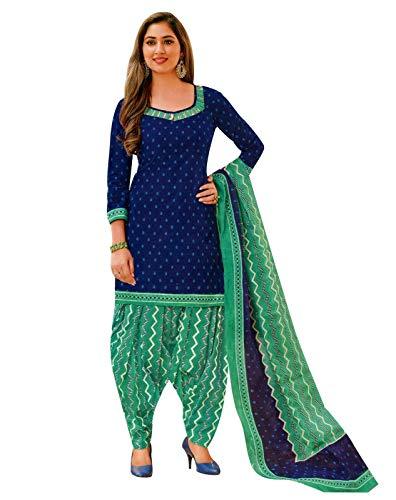 Ladyline Readymade Printed Cotton Patiala Salwar Kameez Indian Dress(Size_50/Dark Blue) ()