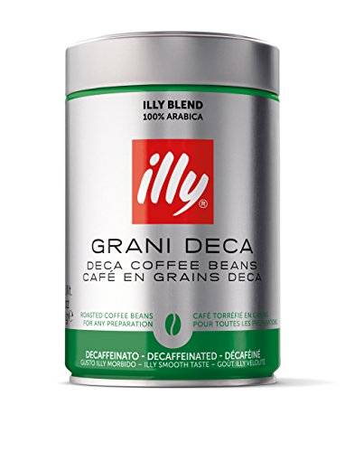 Illy Caffe Decaffeinated Whole Bean Coffee (Medium Roast, Green Top), 8.8-Ounce Tins (Pack of 2)