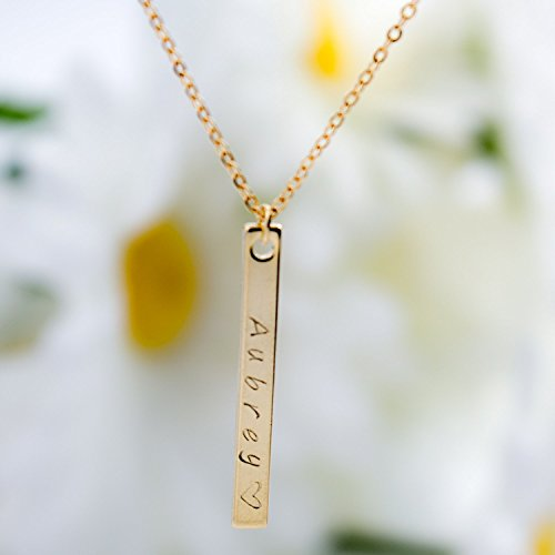Personalized Your name Vertical Necklace 16K Gold Silver Rose Gold Bar Necklace - Dainty Handstamped name Personalized Initial Charms Necklace Bridesmaid Wedding Mother's day (Homemade Mexican Costume)