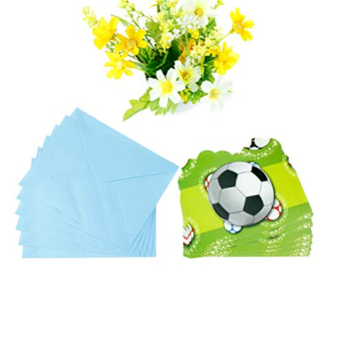 Disposable Party Tableware - 6pcs Cards Envelopes Boys Football Theme Party Paper Invitation Card Kids Baby Birthday Decorations - Tableware Party Disposable