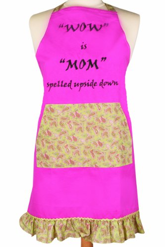 Manual Vintage Style Kitchen Apron, Wow is Mom