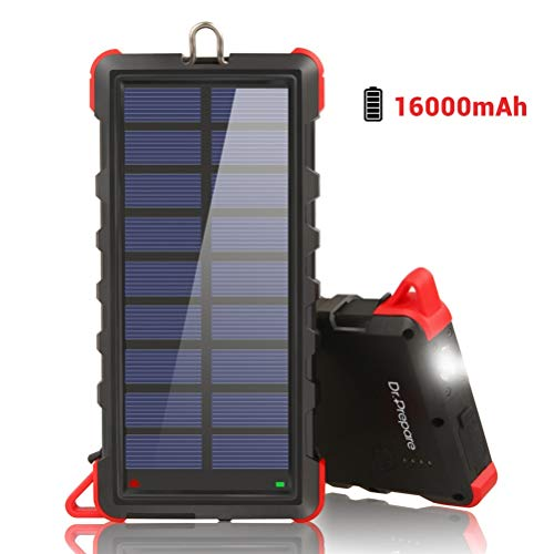 Solar Charger 16000mAh, Dr. Prepare Portable Power Bank Solar Panel Charger IP66 Water-resistant with Dual USB Ports and LED Flashlight External Battery Pack for Camping Outdoor for iOS and Android