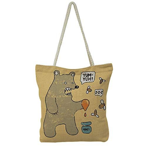 iPrint Handbag Cotton and Linen Shoulder Bag Leisure Fashion,Bear with Bees and Honey Saying Yum Yum Kids Comic,Customizable Design