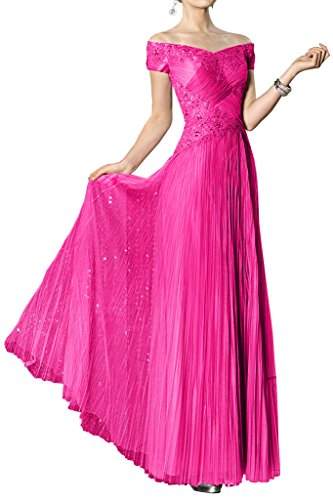 Vestidos de baile Toscana novia sin tirantes de moda Noche de tul vestidos del partido largo y duro fucsia