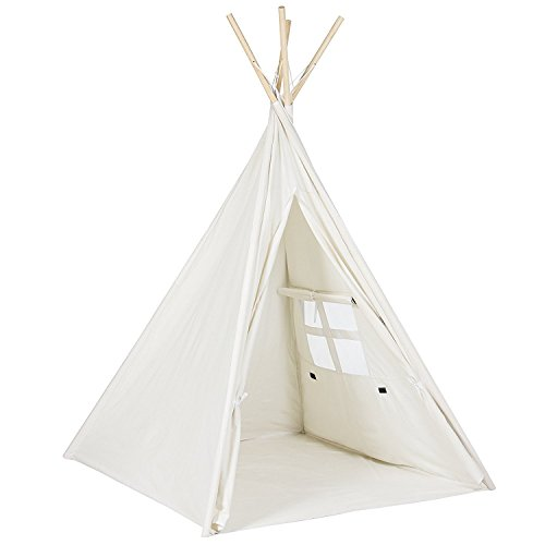 Toysland Indoor Indian Playhouse Toy Teepee Play Tent for Kids Toddlers Canvas with Carry Case, White