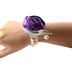 Flonding Girl Bridesmaid Wedding Wrist Corsage Bride Wrist Flower Corsages Stretch Bracelet for Wedding Prom Party Homecoming Hand Flowers Decor with Faux Pearl Bead Wristband (Dark Purple, Pack of 4) 114
