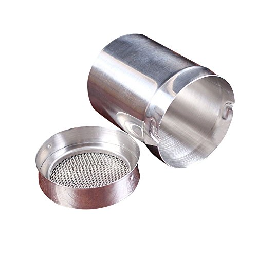 aliveGOT Classic Stainless Steel Flour Sifter Chocolate Shaker Flour Powder Icing Sugar Coffee Sifter With Lid