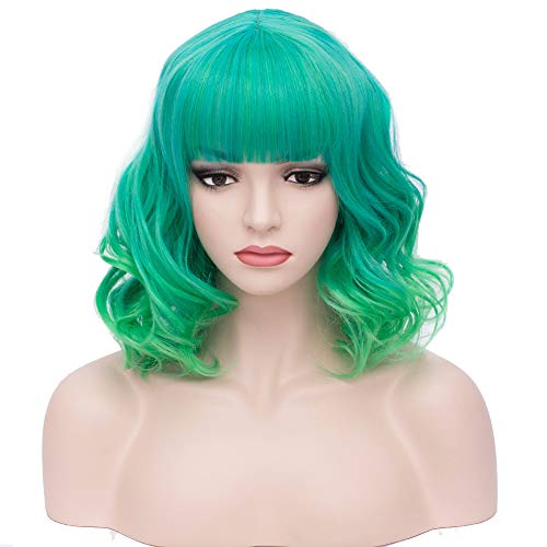 BERON 14 Short Curly Women Girls Charming Synthetic Wig with Air Bangs Wig Cap Included (Ombre Green)