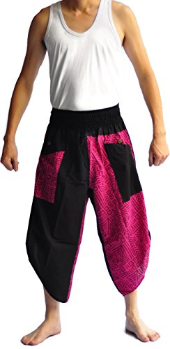 Siam Trendy Men's Japanese Style Pants One Size Black Tradition Stone (pink) by Siam Trendy