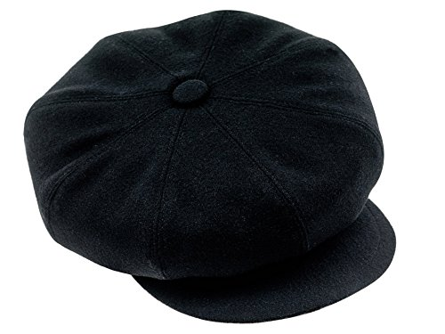 [Sterkowski Woolen Gavroche 8/4 Balloon Newsboy Style Cap US 7 3/4 Black] (Hats 4 U)