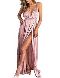 Berrygo Women's Sexy Backless V Neck Split Satin Long Party Dress