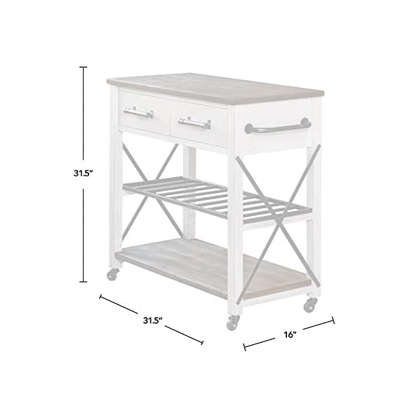 FirsTime & Co. White Aurora Farmhouse Kitchen Cart, American Crafted, Aged White, 31.5 x 16 x 31.5 ,