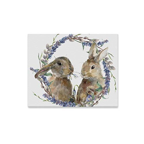 - VNASKL Wall Art Painting Easter Bunny Floral Wreath Handprints On Canvas The Picture Landscape Pictures Oil for Home Modern Decoration Print Decor for Living Room