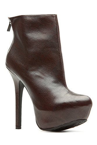 dollhouse Brown Faux Leather Platform Ankle Booties ()