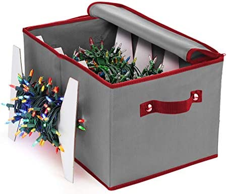 ZOBER Christmas Light Storage Box–Non-Woven Fabric with 4 Cardboard Light Storage Wraps, to Store Up to 800 Holiday Light Bulbs; Includes Durable Zipper & Reinforced Stitched Handles