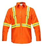 Flame Resistant FR High Visibility Hi Vis Shirt - 88% C/12% N - 7oz (Large, Orange)