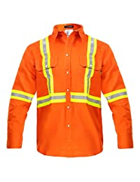 Flame Resistant FR High Visibility Hi Vis Shirt - 88% C/12% N - 7oz (Medium, Orange)